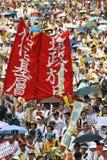 Combat pour la démocratie. 1er juillet 2004 Hong Kong mars. Images libres de droits