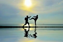 Combat près de la plage Images libres de droits