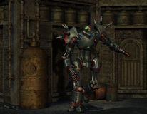 Combat robot in an old machine room. 3D Rendering of a Combat robot in an old machine room Royalty Free Stock Photo