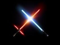 Combat, rouge léger et bleu de sabre d'isolement sur le noir illustration libre de droits