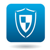 Combat shield icon, simple style. Combat shield icon in simple style in blue square. Weapon for war symbol Royalty Free Stock Image
