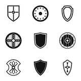 Combat shield icons set, simple style Stock Image