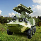 9A35-combat sistema de mísseis 9K35 Strela-10 da defesa aérea dos mísseis 9M37 do veículo 4 Fotografia de Stock