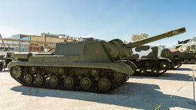 Combat Soviet tank, an exhibit of military-historical Museum, Ekaterinburg, Russia Royalty Free Stock Images