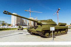 Combat Soviet tank, an exhibit of military-historical Museum, Ekaterinburg, Russia Royalty Free Stock Photography