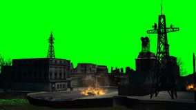 Combat stage city / explosion on green screen