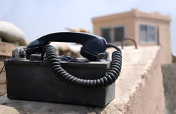 Combat telephone. The US Army use this type of telephone on the battelfield (Iraq, Afghanistan Stock Photography