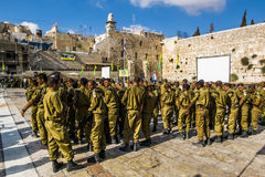 Combat units in the Israeli army were sworn near the wailing wal Stock Photography