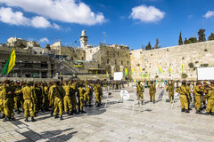 Combat units in the Israeli army were sworn near the wailing wal Stock Image