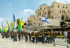 Combat units in the Israeli army were sworn near the wailing wal Royalty Free Stock Image