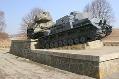 Combat vehicles. Monument to the tanks of the Second World War, Slovakia in March 2012 Royalty Free Stock Photos