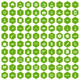 100 combat vehicles icons hexagon green. 100 combat vehicles icons set in green hexagon isolated vector illustration Stock Illustration