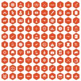 100 combat vehicles icons hexagon orange. 100 combat vehicles icons set in orange hexagon isolated vector illustration Royalty Free Stock Photography