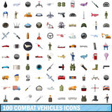 100 combat vehicles icons set, cartoon style Stock Image