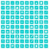 100 combat vehicles icons set grunge blue. 100 combat vehicles icons set in grunge style blue color isolated on white background vector illustration Stock Photo