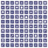 100 combat vehicles icons set grunge sapphire. 100 combat vehicles icons set in grunge style sapphire color isolated on white background vector illustration Royalty Free Stock Photography