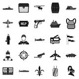 Combat vehicles icons set, simple style. Combat vehicles icons set. Simple set of 25 combat vehicles vector icons for web isolated on white background Stock Images