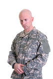 Combat Veteran memorial. An American soldier in the new digitized camouflage uniform with Combat Infantry Badge, Jump Master wings, and Air Assault Badge Stock Images