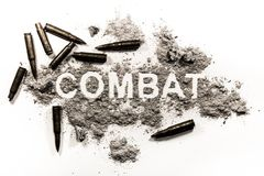 Combat word in grey dust and bullets as a aggression. War fight concept and criminal video game battle violence background Stock Photos