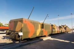 Combata el tren blindado, el objeto expuesto del museo histórico militar, Rusia, Ekaterinburg, Foto de archivo