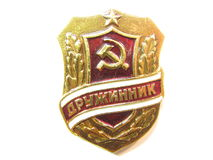 Combatant badge. From USSR history Royalty Free Stock Photos