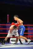 Combate de boxeo: A.Avtorkhanov contra N.Ubaali Fotografía de archivo libre de regalías