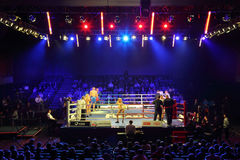 Combate de boxeo: I.Ismailov contra F.Khrgovich Imagen de archivo