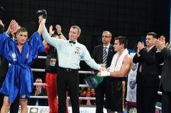 Combate de boxeo para el título mediterráneo de WBS Foto de archivo libre de regalías