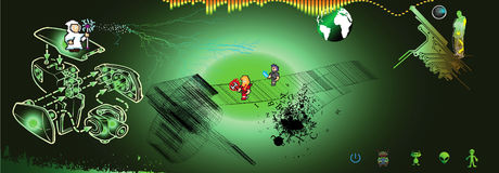 Combate de los monstruos del espacio Stock de ilustración