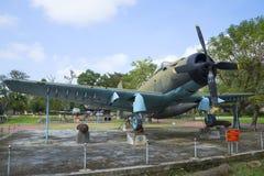 Combatiente americano AD-6 (Douglas A-1 Skyraider) en el museo de la ciudad de la tonalidad Vietnam Imagen de archivo libre de regalías