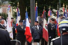 Combatiente anterior que marcha para el día nacional del 14 de julio, franco Fotografía de archivo