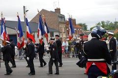 Combatiente anterior que marcha para el día nacional del 14 de julio, franco Fotos de archivo libres de regalías