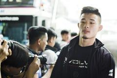 Combatiente del campeonato del peso pluma uno de Christian Lee imágenes de archivo libres de regalías