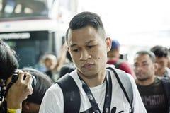 Combatiente del campeonato del peso pluma uno de Sagetdao Petpayathai imágenes de archivo libres de regalías