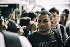 Combatiente del campeonato del strawweight uno del sor Amnuaysirichoke de Dejdamrong imagen de archivo