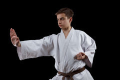Combatiente del karate en el kimono blanco aislado en negro Fotos de archivo libres de regalías