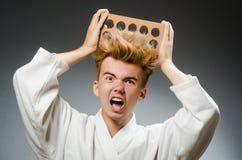 Combatiente divertido del karate Fotos de archivo