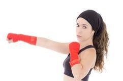 Combatiente mezclado femenino de los artes marciales en estilo del Muttahida Majlis-E-Amal foto de archivo libre de regalías