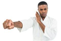 Combatiente que realiza postura del karate Fotografía de archivo