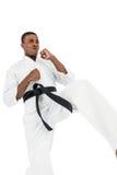 Combatiente que realiza postura del karate Foto de archivo libre de regalías