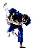 Combatientes de Judokas que luchan siluetas de los hombres Foto de archivo