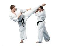 Combatientes del karate en la acción Fotos de archivo