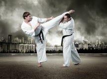 Combatientes del karate en la acción Fotografía de archivo