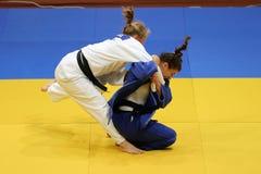 Combatientes femeninos del judo Imágenes de archivo libres de regalías