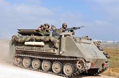 Combatientes israelíes en la Franja de Gaza del norte Foto de archivo