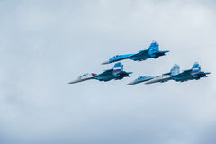 Combatientes militares Su-27 del aire Fotografía de archivo