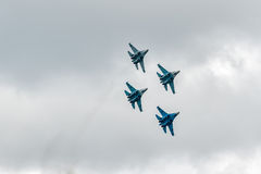 Combatientes militares Su-27 del aire Imagenes de archivo