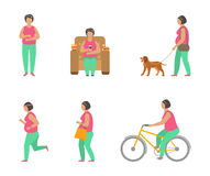 Combating Obesity Through Sports. Fat Woman Walking Dog, Bicycling, Jogging Royalty Free Stock Images