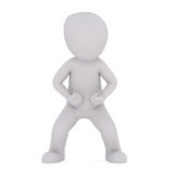 Combative 3D illustrated figure stands with fists. Clenched and legs widely spaced Stock Photos