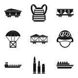 Combative icons set, simple style. Combative icons set. Simple set of 9 combative vector icons for web isolated on white background Stock Photography